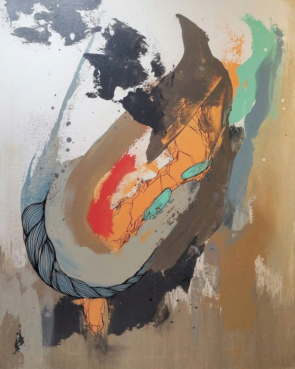 "CENTURY LONG SLUMBER / acrylic + ink / 16"" x 20"" on canvas"