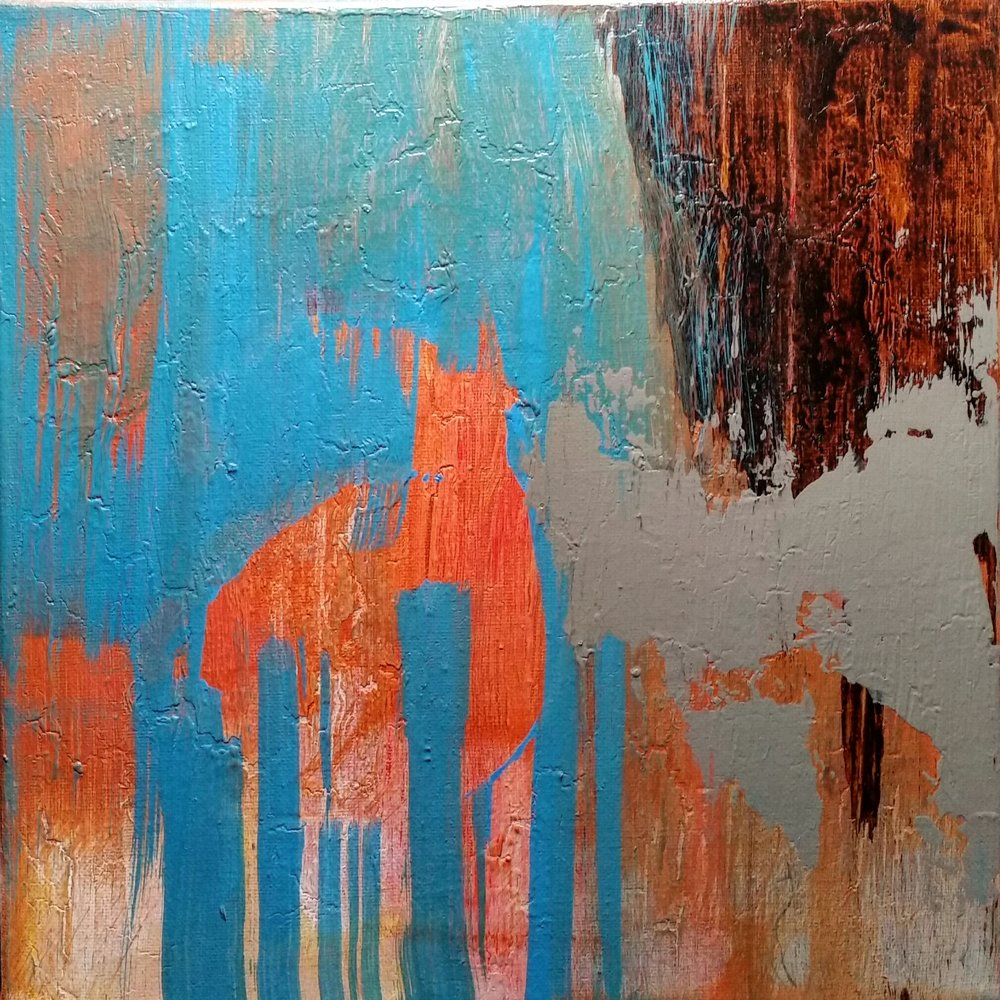 "ERROR. ERROR. / acrylic + ink / 12"" x 12"" on canvas"