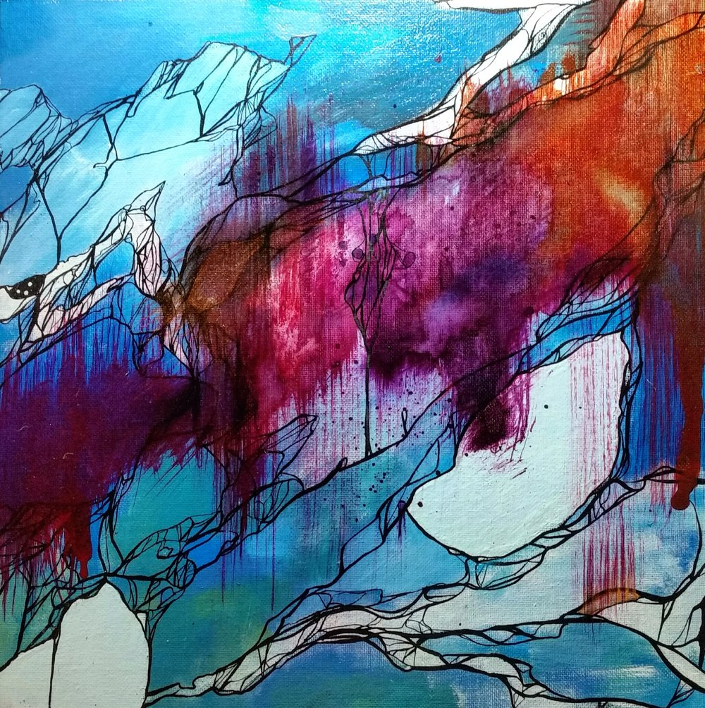 "THRASH / acrylic + ink / 12"" x 12"" on canvas board"
