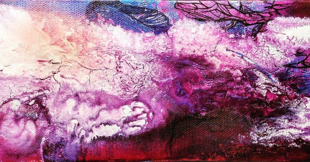 "SMASH / acrylic + ink / 12"" x 4"" on canvas"