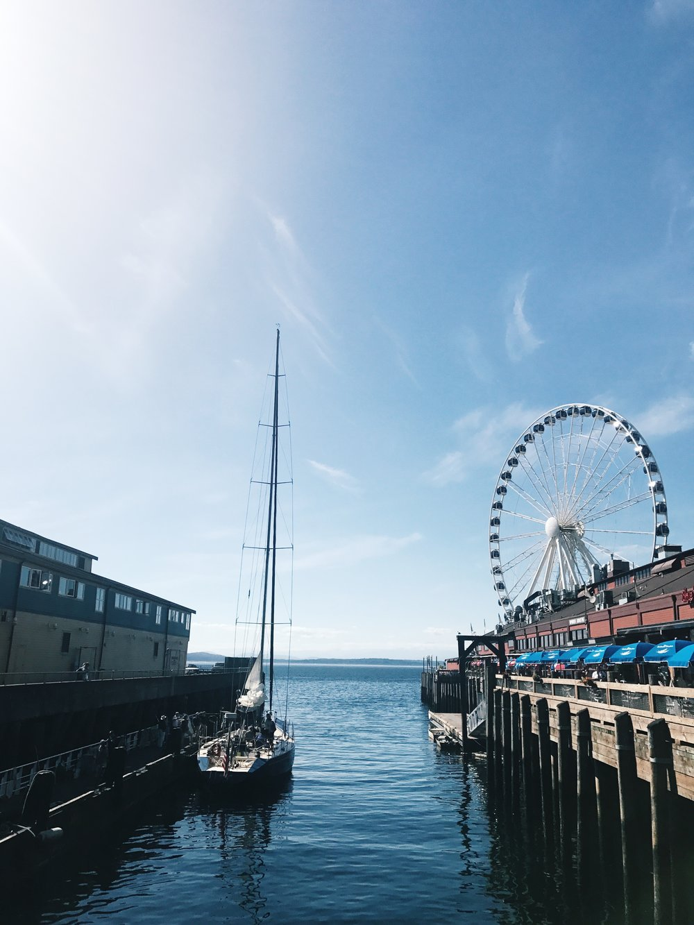 Seattle Elliot Bay Waterfront Puget Sound Sailing Ferris Wheel