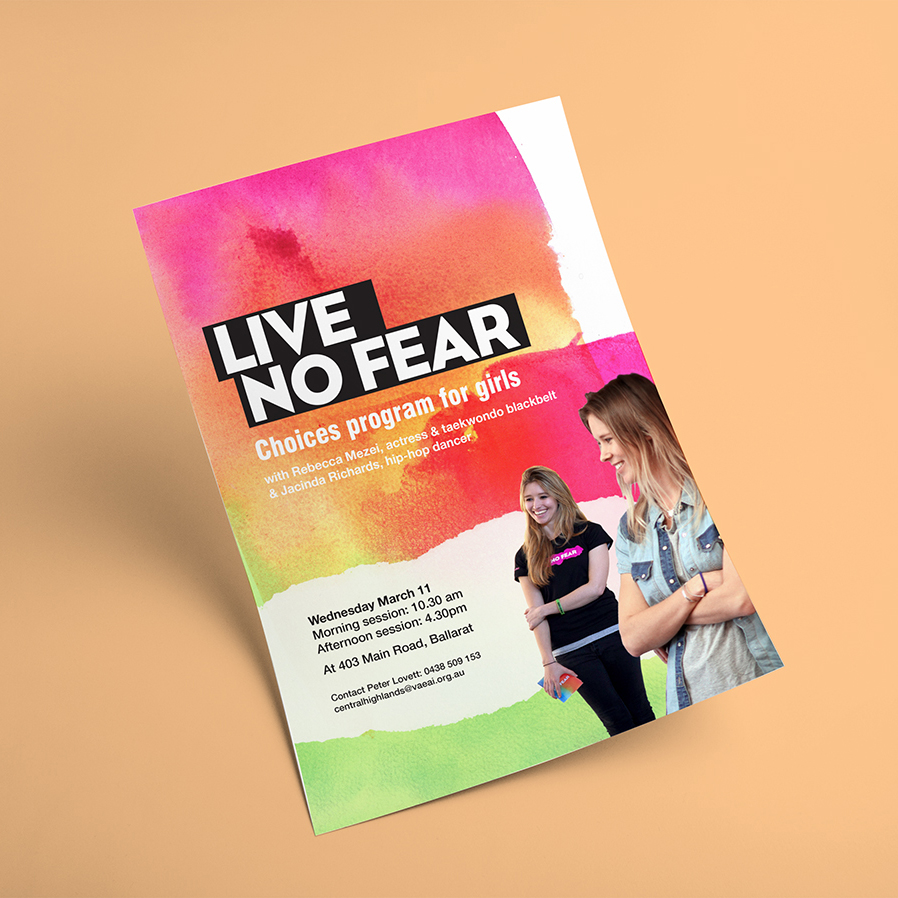 Choices & Live No Fear   Poster design, proposal document and annual report for Live No Fear and Choices anti- violence school programs