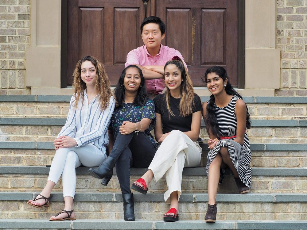 From left to right, the  100cameras Snapshot Dhaka  team: Sophie Howery (sophomore at McLean High School), Mehran Sajjad (junior at Thomas Jefferson High School), Sumaiya Haque (junior at Langley High School), Ananya Amirthalingam (junior at Langley High School), and Andrew Kim, project filmmaker, at the top (junior at Thomas Jefferson High School). Not pictured: Photography Teacher, Amanda Archibald