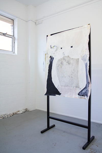 Teelah George, Face Vase and Rag Painting, install (2015) Courtesy the artist and Bus Projects