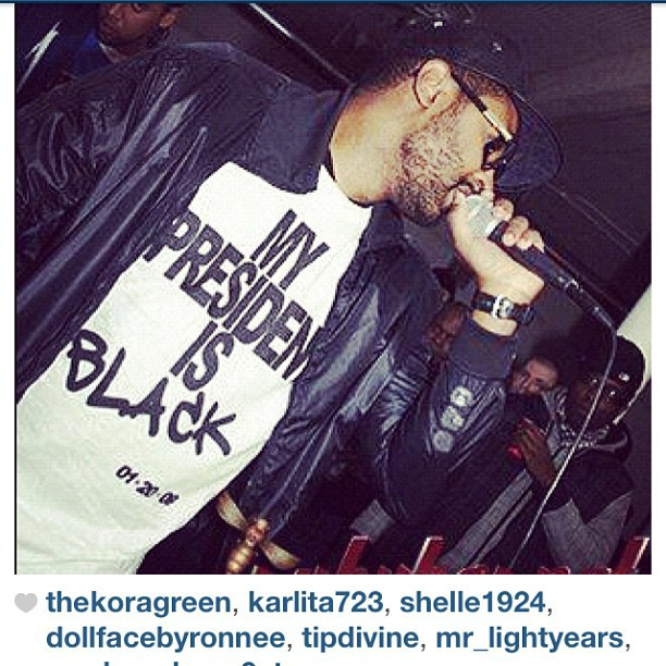 The homie @nicholauskane rocking the #rsl #mypresidentisblack tee #throwback