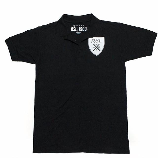 RSL Crest Polo in Black rslbranded.com only $30s-xl regular price $40 act fast #blackfriday #blackfridayrsl #sale #shop #scholar #rsl #roadscholarlifestyle #fashion #igfashion #polo #streetwear