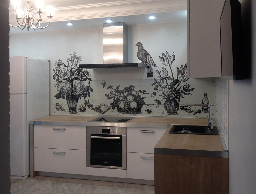 Рисунок на кухне в уютной Минской квартире