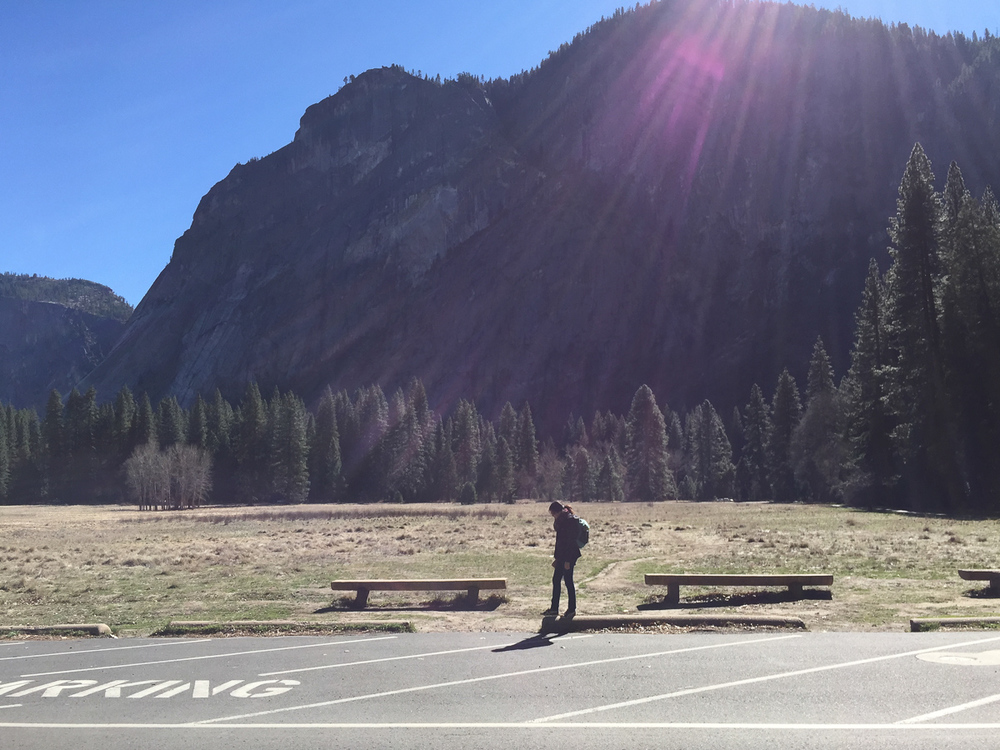 CH having a moment while walking to the Ahwahnee Hotel