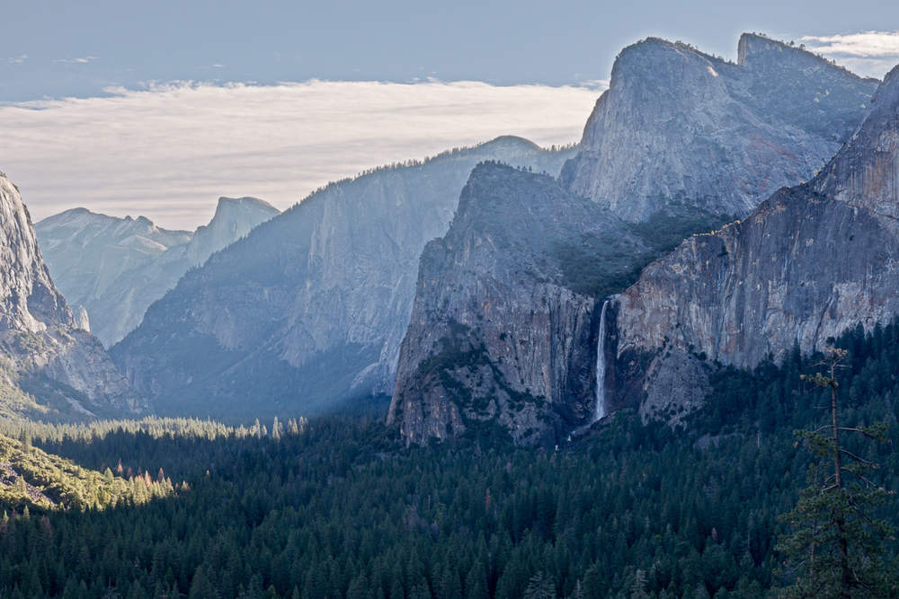 Half Dome in the distance left of center, Bridalveil Fall to the right