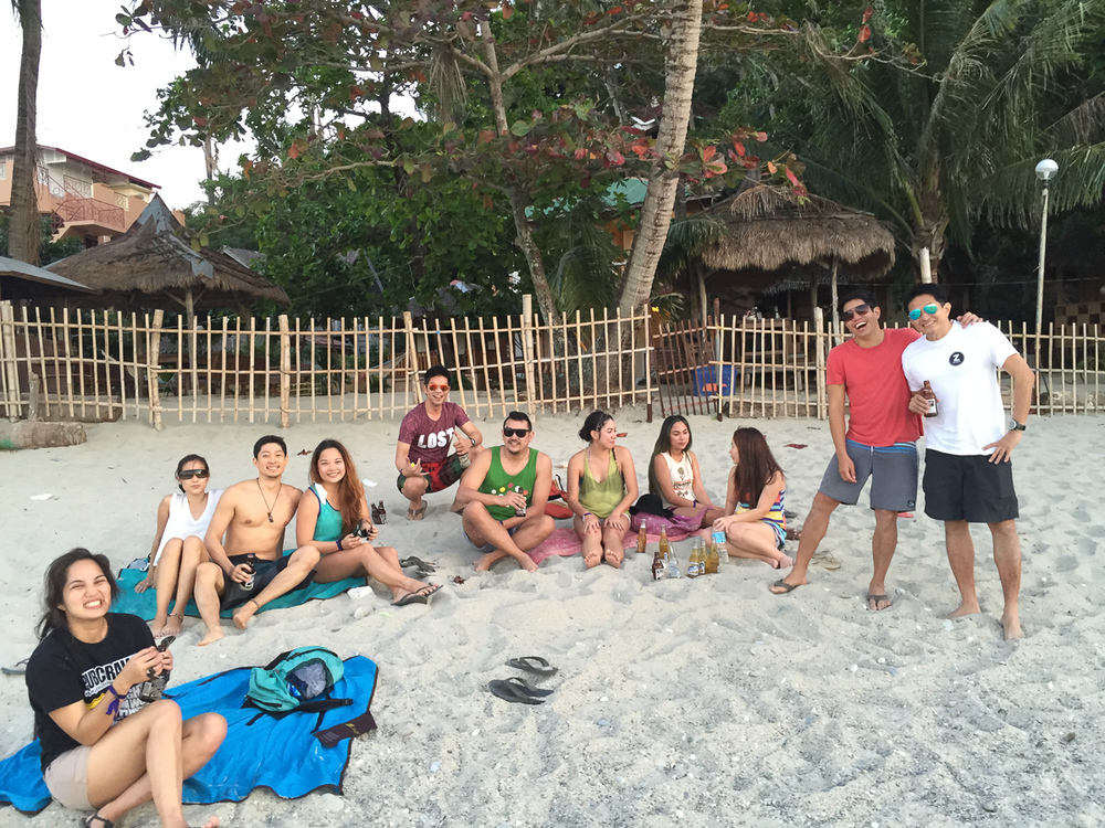 The good people of Z Hostel and friends hanging out at White Beach.