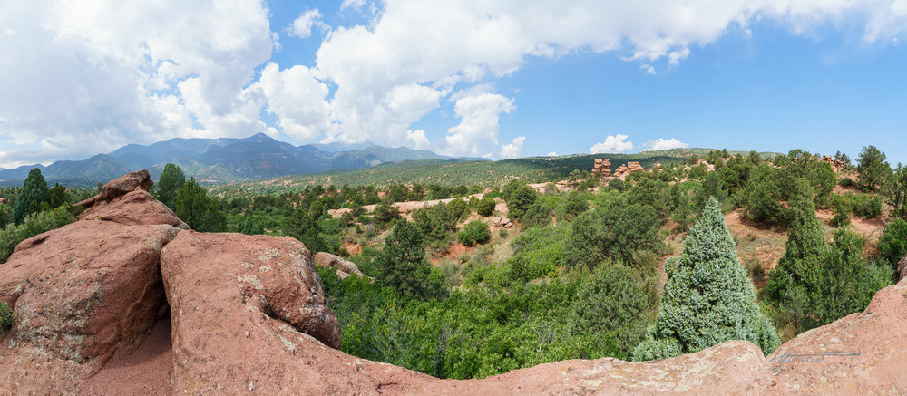 Panorama of the view along the Palmer Trail. The Siamese Twins are visible to right of center.