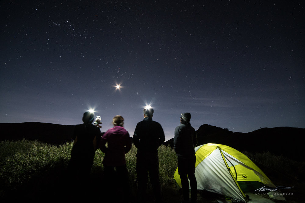 Shining our lights. Sony A7RII + Samyang 14mm, 15s, ISO 3200. Can't remember the f-stop but it was stopped down in order to get the starburst effect on the headlamps and the moon, and also to keep everything in focus from front to back.