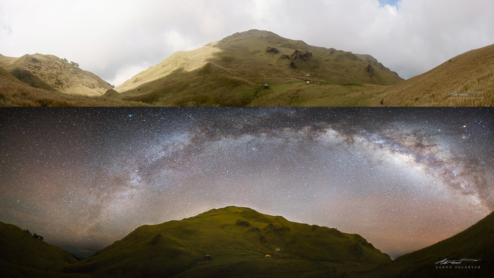 Daytime and nighttime panorama of the summit of Mt. Pulag as soon from the Akiki Trail.