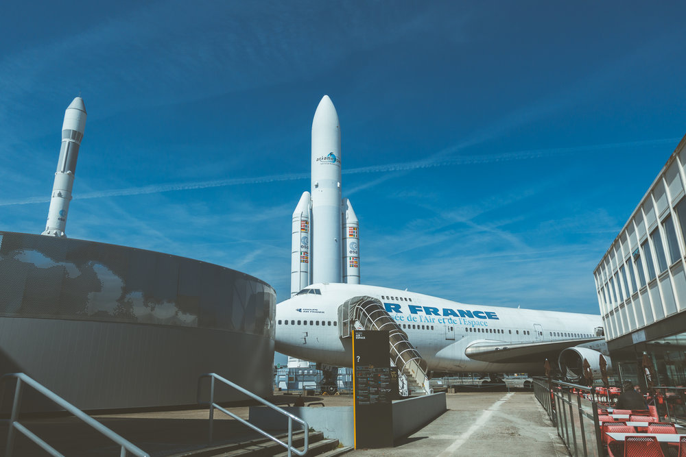 A Boeing 747 on display at the Musee de l'Air et de l'Espace in Paris
