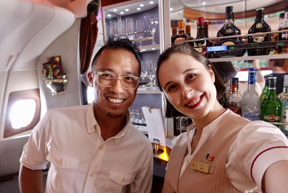Hanging out with Anna from Moldova, the bartender on the Emirates A380 from DXB-AMS