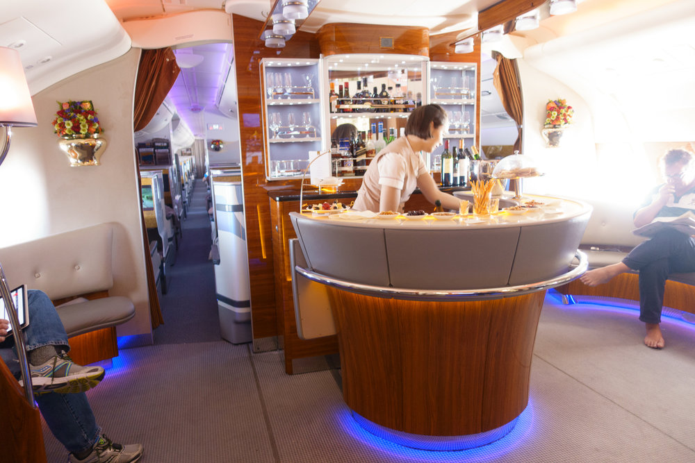 The upper deck inflight bar on the Emirates A380
