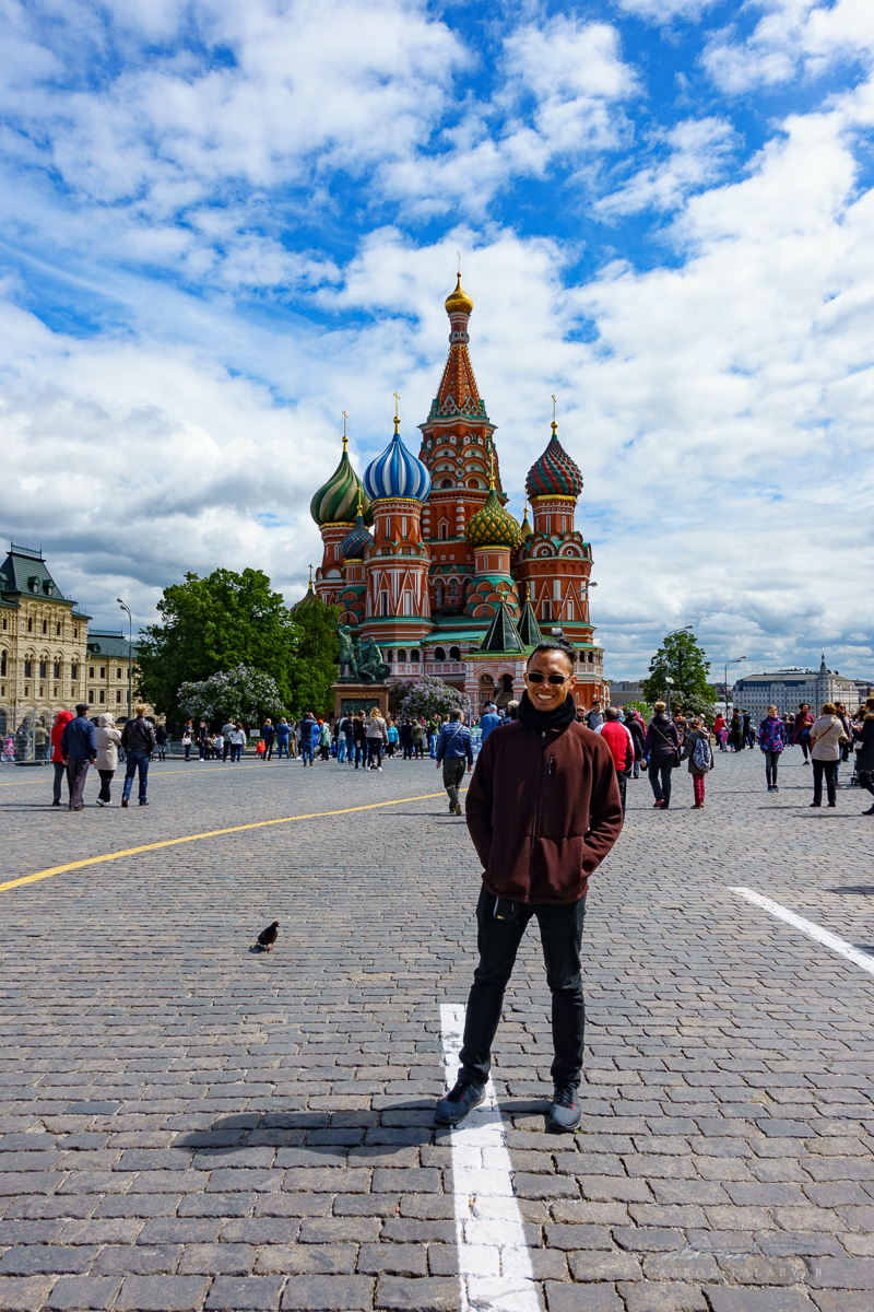 Posing for a tourist picture in the Red Square