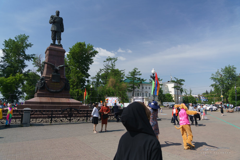 Monument to Tsar Alexander III. That is a teenage girl in a dog suit, who happily greets all passersby. Not the Russian coldness we were expecting.