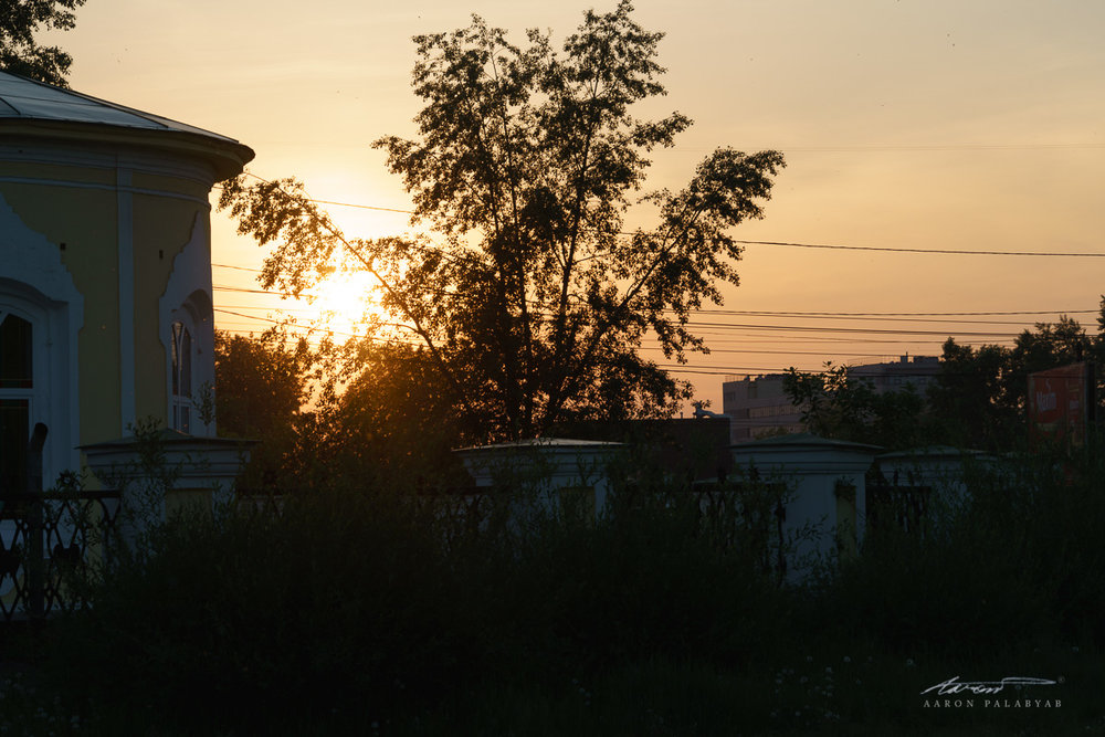The sun setting over Irkutsk