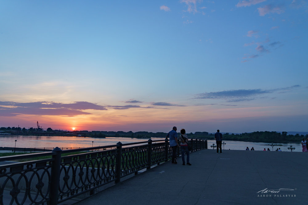 Sunset seen from the bridge by the Memorial Complex in Irkutsk