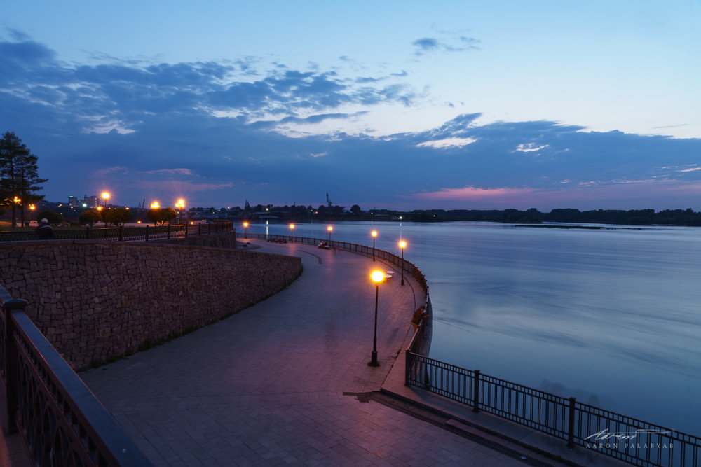 The embankment of the Angara at twilight