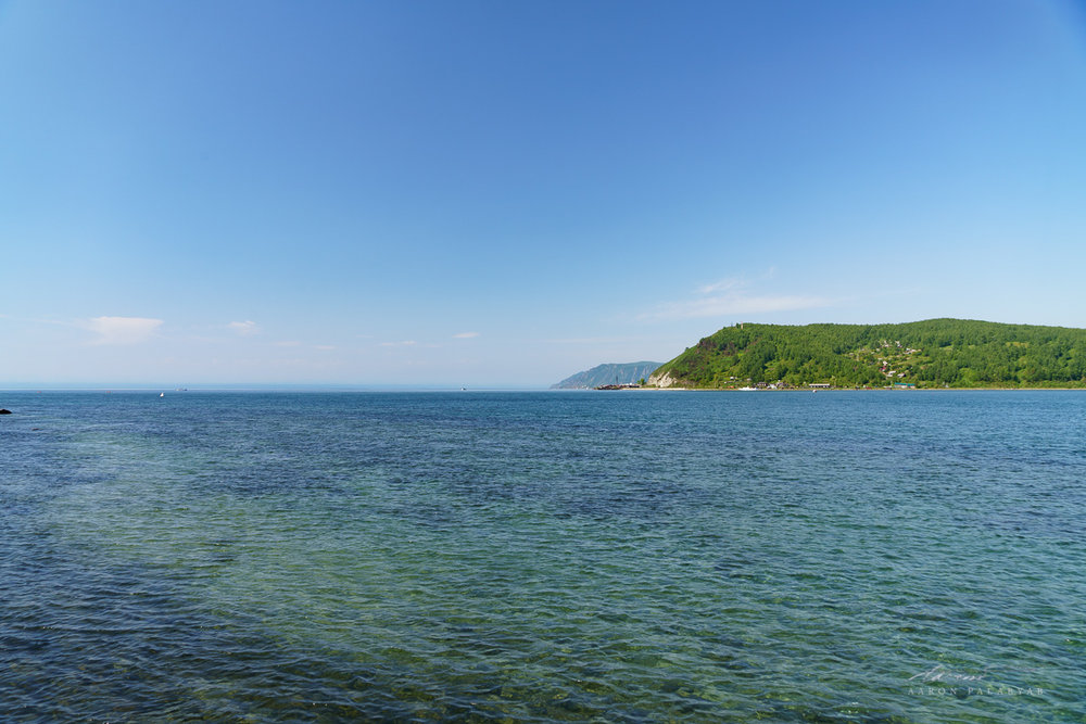 Gazing out towards the invisible far shores of Lake Baikal from the mouth of the Angara