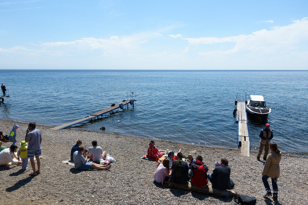 Weekenders, many from Irkutsk, enjoying a day by the lake. It is not particularly warm, despite the sunny weather!