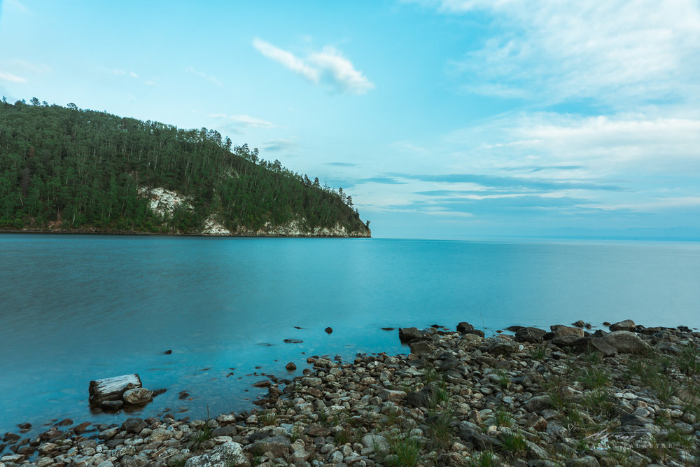 The stony shores of the Baikal