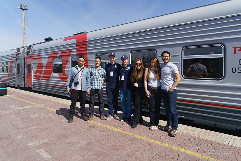 The Filipino media group with Artem and Evgeny, tour directors of the Grand Trans-Siberian Express, after final disembarkation at Ulaanbaatar