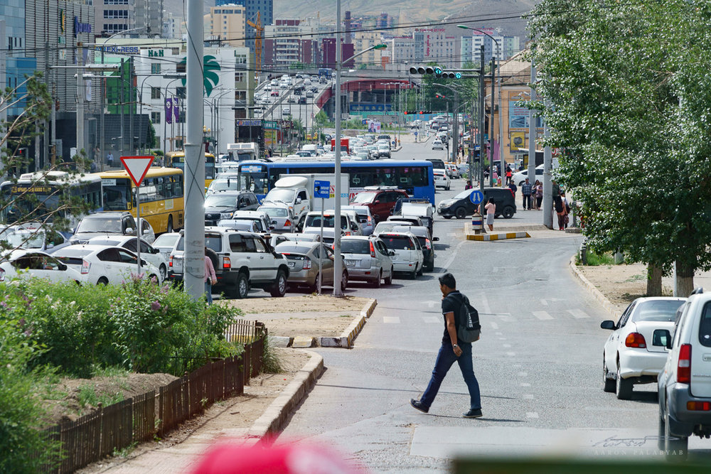 Driving into Ulaanbaatar traffic