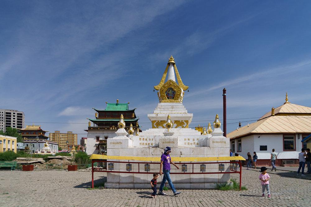 A stupa in the Ghandan Monastery
