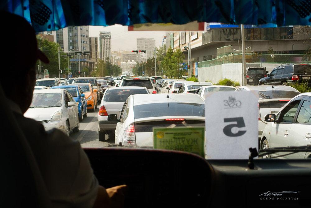 Typical rush hour traffic at Ulaanbaatar
