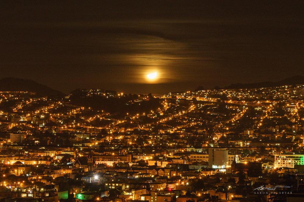Quarter moon over San Francisco
