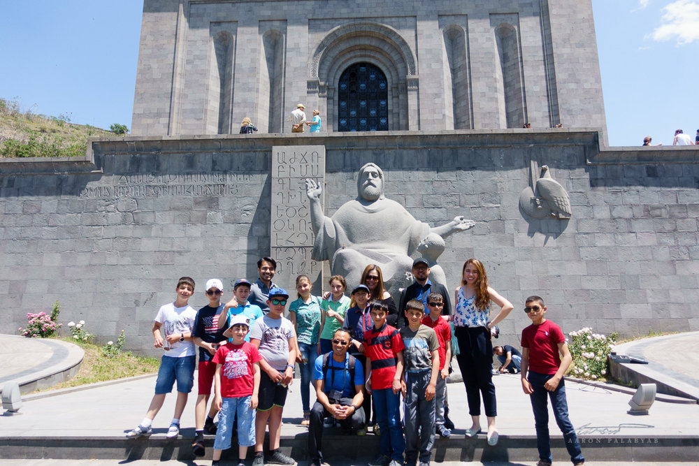 Posing with local kids in front of the Matenadaran, the manuscript museum of Armenia, in the capital Yerevan. The locals were very friendly and curious about us.