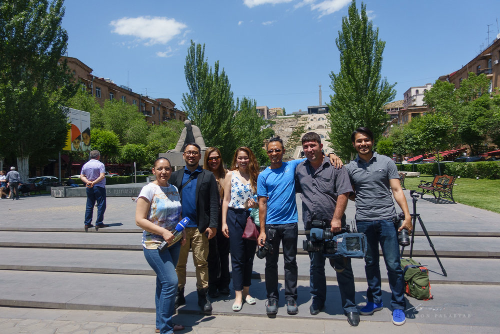 We had the privilege of doing a televised interview where we invited Filipinos to visit Armenia. Taken at the Yerevan Cascade.