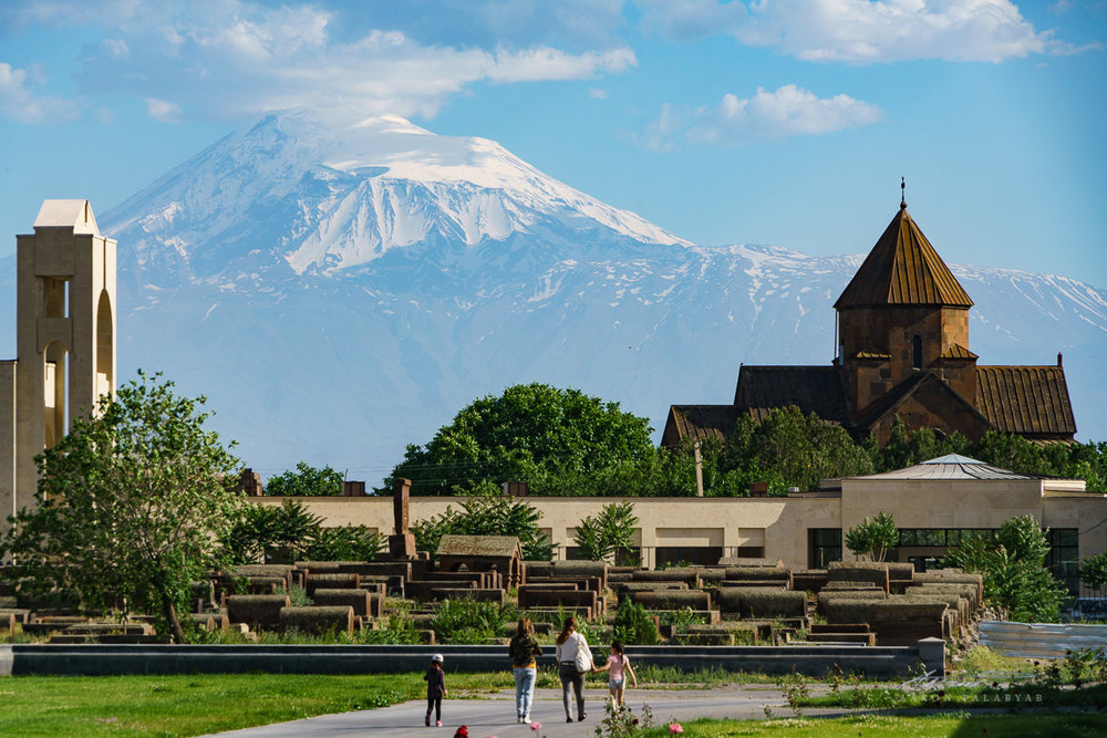 Looking up at Mt. Ararat, the incredibly massive holy mountain and symbol of Armenia
