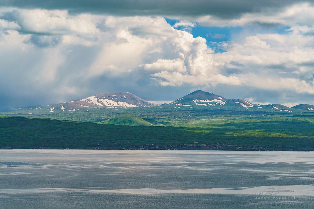 High mountains behind Lake Sevan