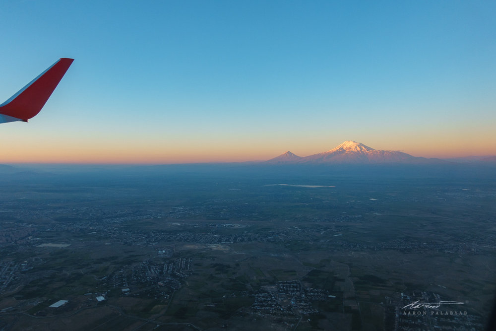 One final look at majestic Mt. Ararat at sunrise from onboard our Aeroflot flight to Moscow for the Grand Trans-Siberian Express