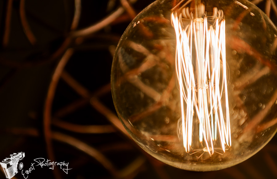 Macro photo of Edison light bulb in low light