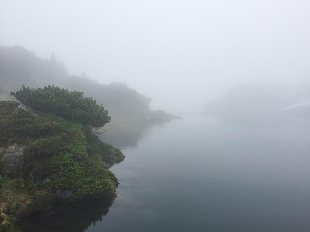 Oberer Murgsee mystisch im Nebel