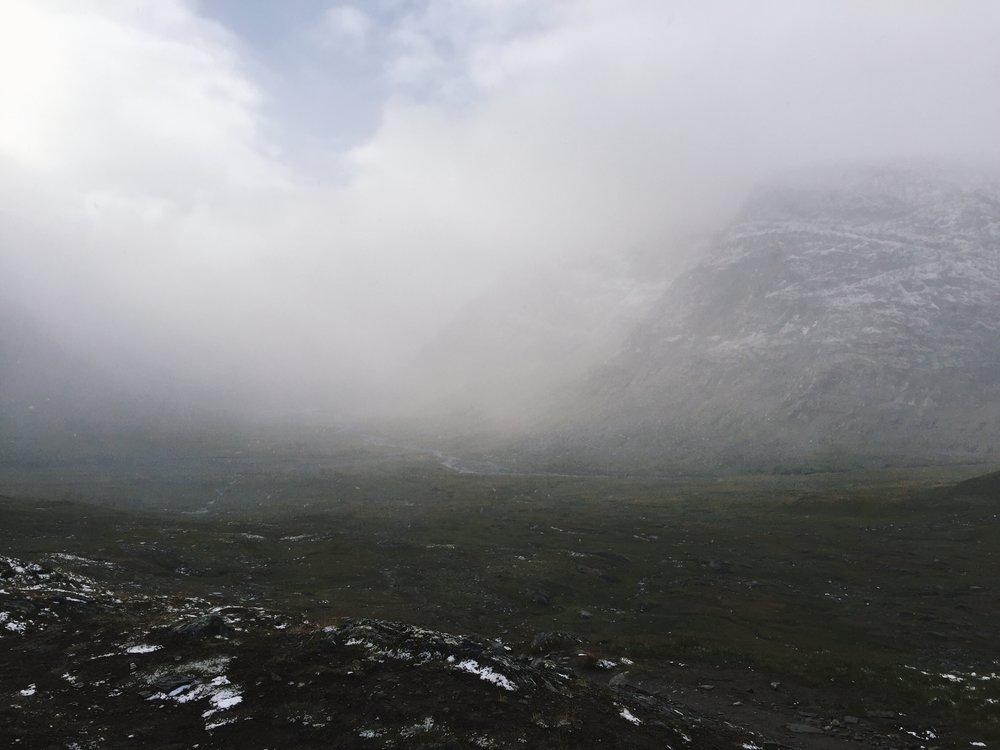 Blick ins Tal vom Tjäktjapass