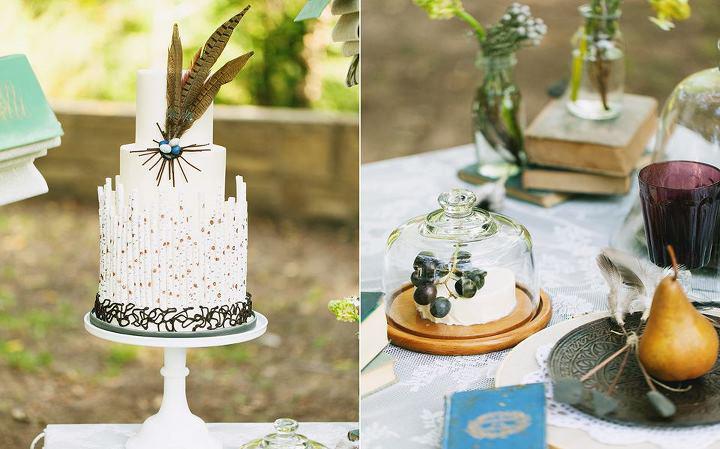 custom-wedding-cake-rustic-birch-wood-feathers.jpg