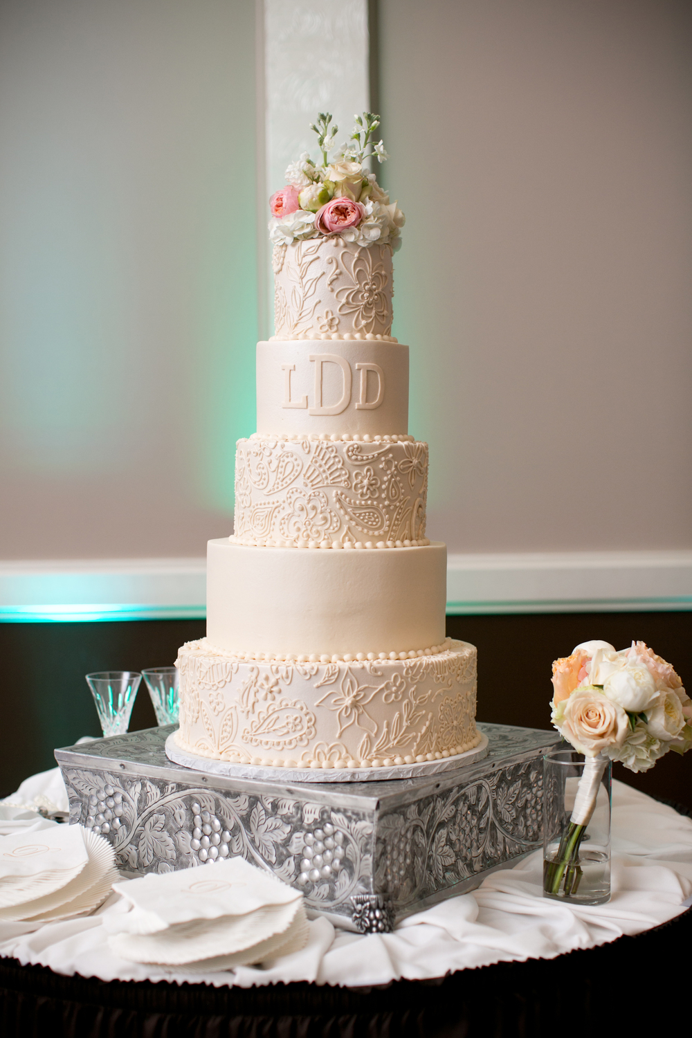 Custom Wedding Cake Blush Lace Detail Monogram Jpg