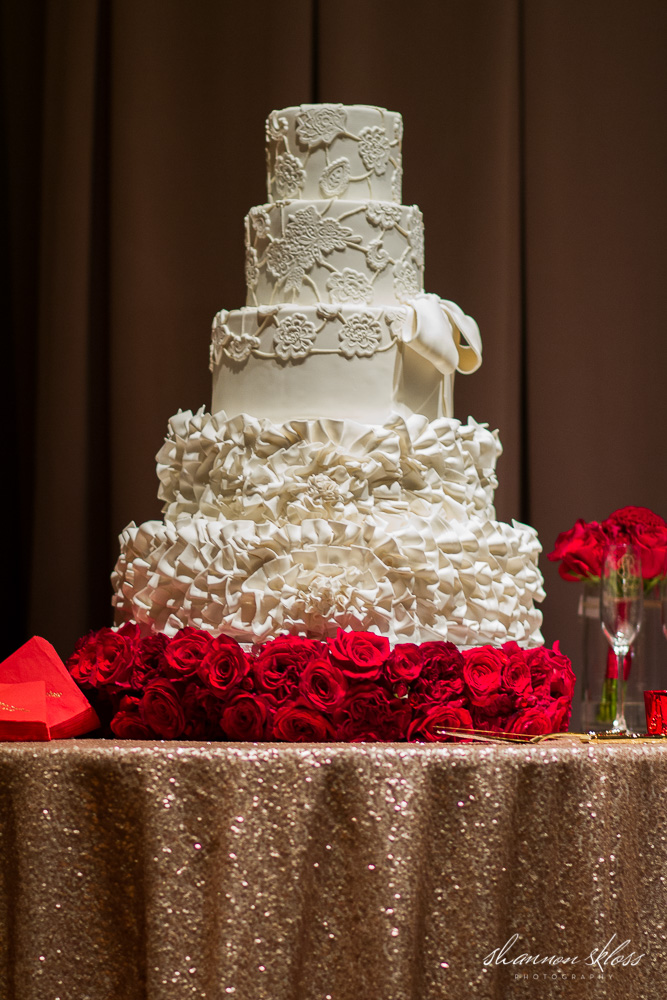 Sugar bee sweets bakery dallas fort worth wedding cake bakery custom wedding cake white lace ruffles redroses sugarbeesweets junglespirit Gallery