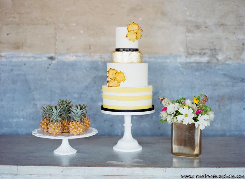 custom-wedding-cake-stripes-pineapple-flowers-sugarbeesweets.jpg