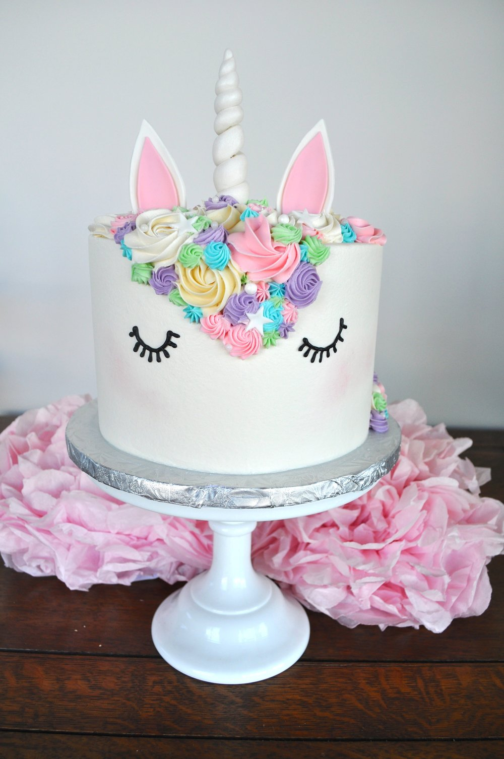 White Horn Unicorn Cake