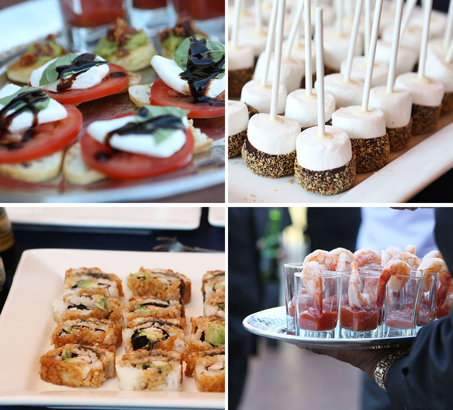 "Catering by MBP Catering. Talk about Amazing!! They had food stations set up all around the reception space that included a sushi station, carving station, ""mashtini"" mashed potato bar, and a Mediterranean station with fresh hummus, pita and an array of fresh veggies. YUM!"