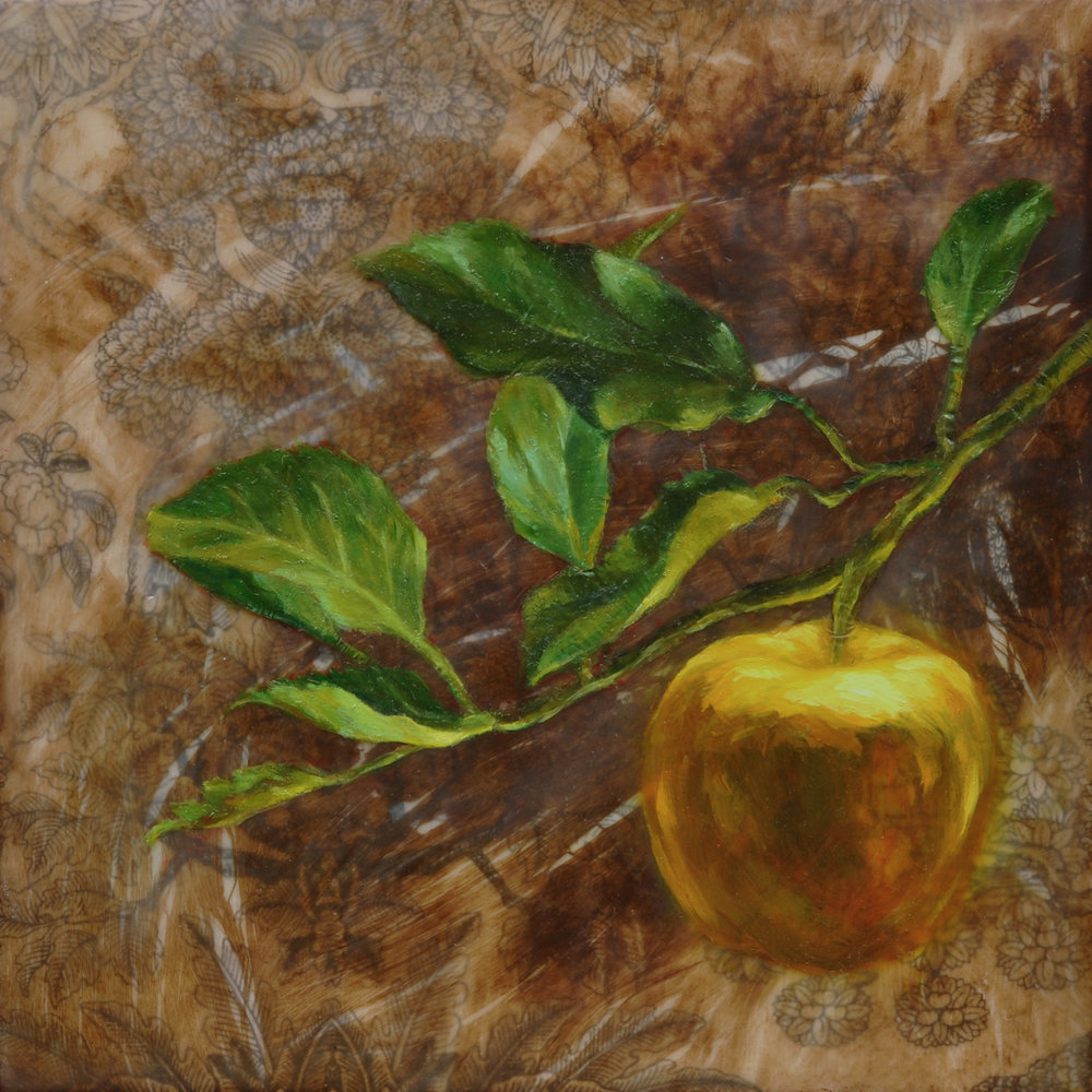 Elizabeth M. Willey - _Idun's Apple_, Encaustic Mixed Media on Panel, 8 x 8 x 1.5 in, 2015.JPG