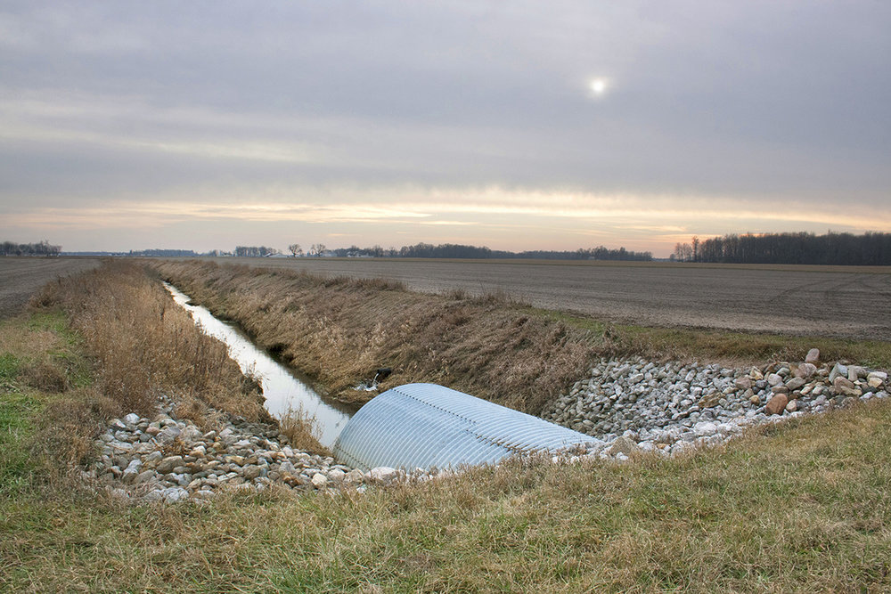 "Drain Pipe, Rural Indiana  2015. Dye-based inkjet print on resin-coated paper. - 12"" x 18"""