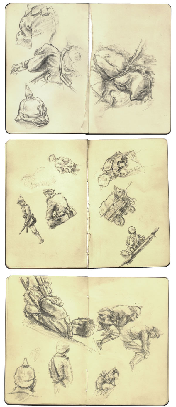 Selection of on set sketches from Steven Spielberg's feature film version of War Horse.